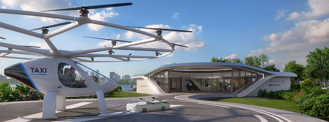 The Volo-Port can stand alone or link to other ports, as well as have a hub for passengers. © Brandlab/Skyports/Volocopter/GRAFT