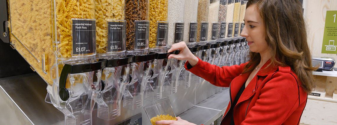 Customers will be able to buy pasta, rice and grains from dispensers instead of plastic packaging © Waitrose & Partners