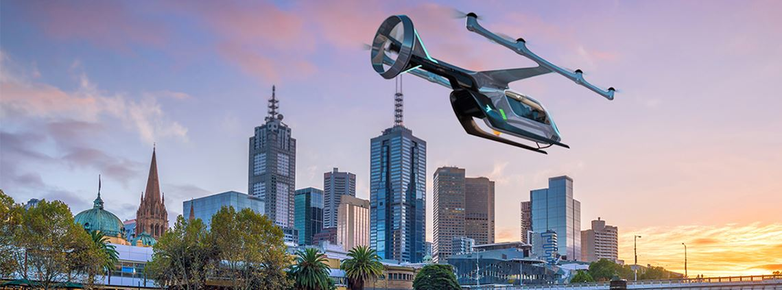 Melbourne will be the first Australian city to trial Uber Air, an aerial ridesharing service © Uber