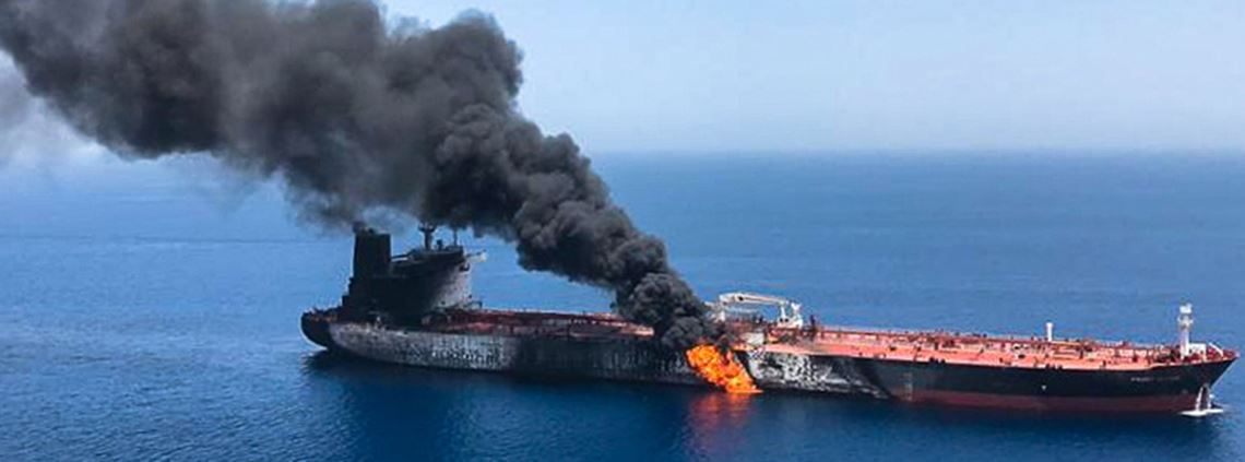 Front Altair tanker on fire following an explosion last Thursday. © AFP/Getty Images