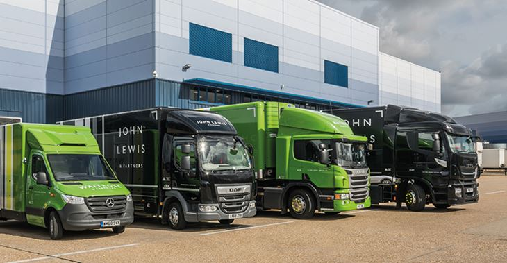 JLP has over 5,000 indirect suppliers, from trolleys to trucks – including these new biomethane-powered trucks being rolled out over the next 10 years ©John Lewis