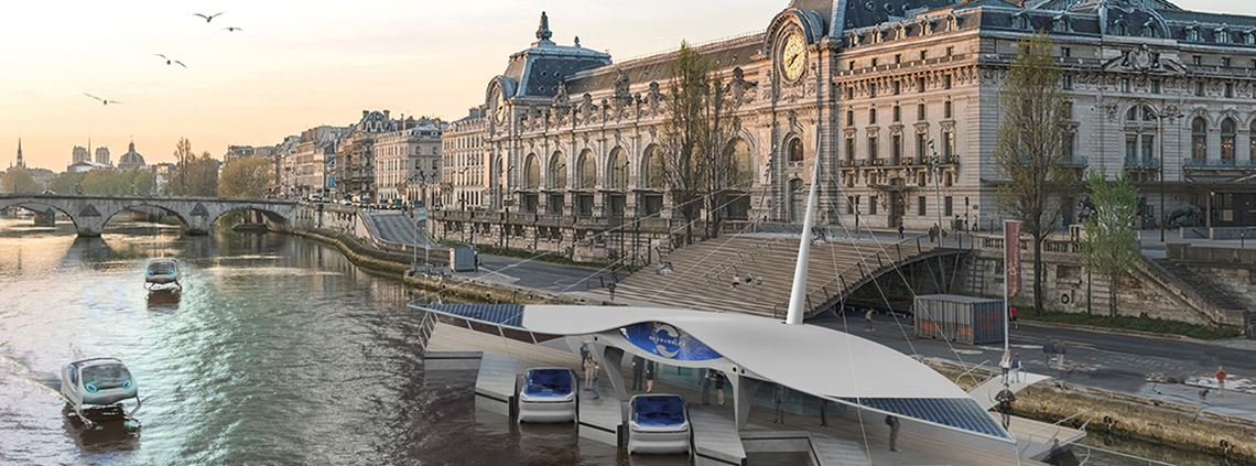 All-electric water taxis are being tested on the River Seine ©SeaBubbles