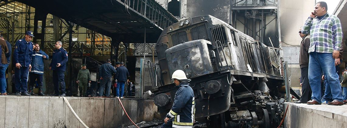 In February 2019, a train crashed at Cairo's Ramses station killing 20 people and injuring at least 40 © Islam Safwat/NurPhoto via Getty Images