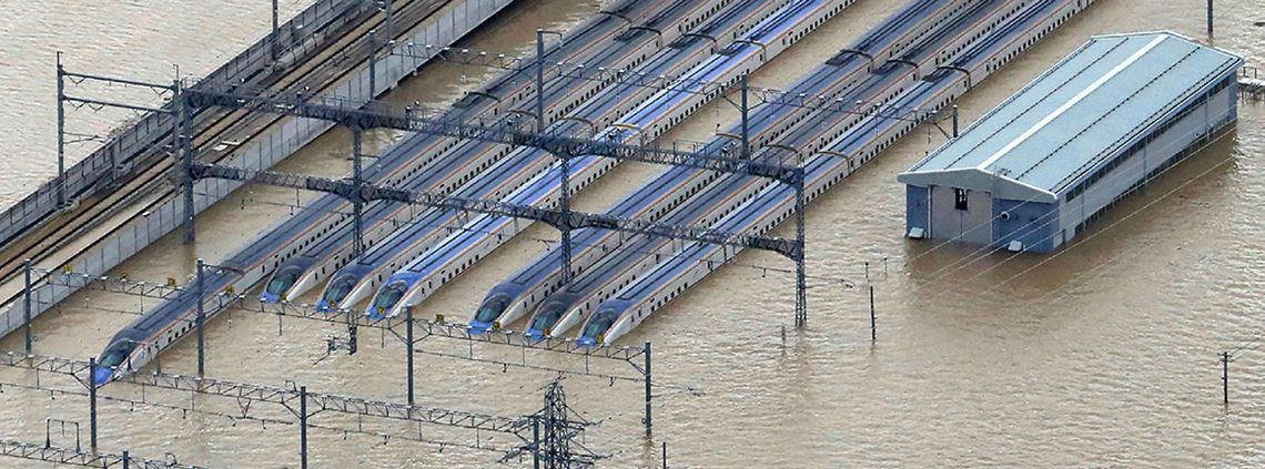 Japan's bullet trains have suffered floods © JIJI Press/AFP/Getty Images