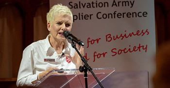 Kathy Betteridge, director of anti-trafficking and modern slavery at The Salvation Army, speaking at their supplier conference. © Adam King