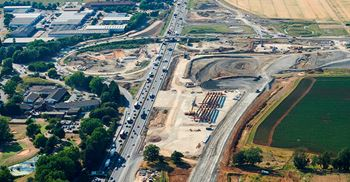 An aerial view of the A14 highway construction site, which Skanska are working on. © James Walker/Highways England