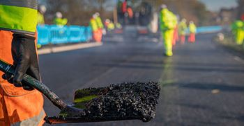 Aggregate supplied and laid the asphalt formula modified by a graphene material. © Andrew Parish