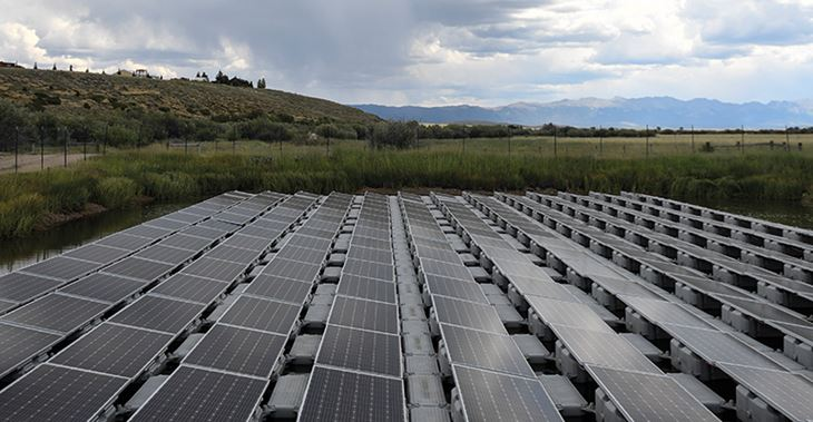 Innovative floating solar panels have been installed in Colorado ©Denver Post/Getty Images