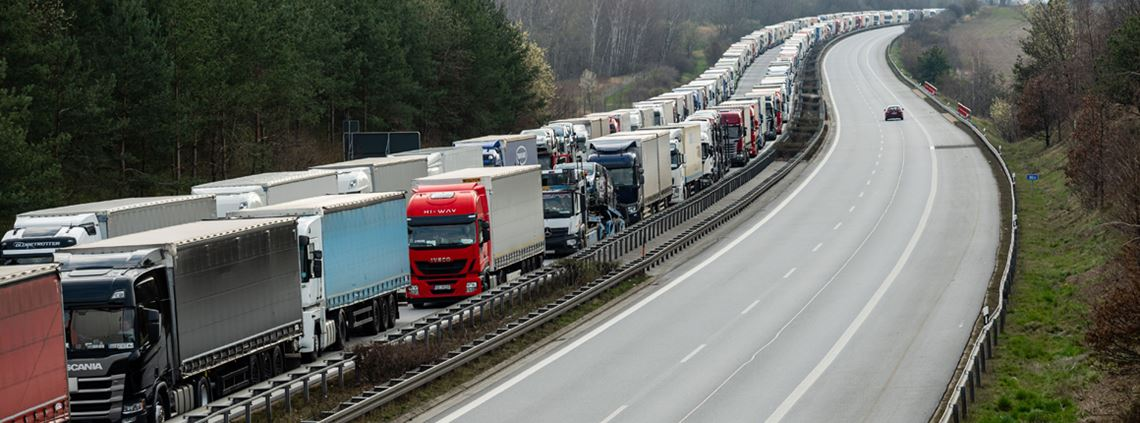 Logistics has been a challenge for firms with 73km traffic queues reported between Germany and Poland © Jens Schlueter/AFP/Getty Images