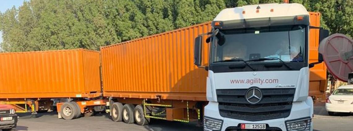 Double-trailer trucks were trialled in Abu Dhabi over six months © Agility