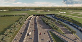 An artist's impression of how the M25 underpass might look. IAG said shortening the runway 300m would make it unnecessary ©Heathrow